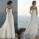 A-line Flowers One Shoulder Chiffon Bridal Gown Pleated Empire Waist Beach Wedding Dress W239