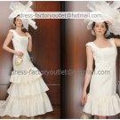 2-In-1 Dismountable Wedding Dress A-line Long Bridal Dress Square Neck Short  Bridal Evening Dress