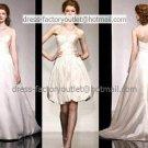2-In-1 Dismountable Wedding Dress A-line Long Bridal Dress Strapless Short  Bridal Evening Dress