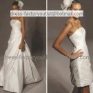 2-In-1 Dismountable Wedding Dress A-line Long Bridal Dress Strapless Short Bridal Evening Dress