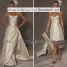 2-In-1  Sz24 6 8 10+Ivory Wedding Dress A-line Long Bridal Dress Strapless Short Bridal Dress
