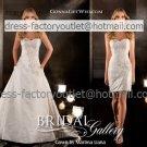 2-In-1 Dismountable White Wedding Dress Beads A-line Long Bridal Dress Sheath Short Bridal Dress