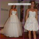 2-In-1 Dismountable White Wedding Dress A-line Long Bridal Dress Short Bridal Dress  Sz24 6 8 10+