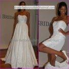 2-In-1 Dismountable White Taffeta Wedding Dress A-line Long Bridal Dress Short Bridal Dress