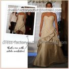 2-In-1 Dismountable Champagne Taffeta Wedding Dress A-line Long Bridal Dress Short Lace Bridal Dress