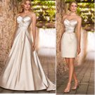2-In-1 Dismountable Champagne Satin Wedding Dress A-line Long Bridal Dress Short Sheath Bridal Dress