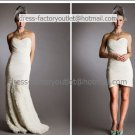 2-In-1 Dismountable White Tulle Wedding Dress Mermaid Bridal Ball Gown Short Sheath Bridal Dress