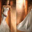 Embroidery White Satin Wedding Dress Mermaid Long Bridal Dress & Demountable Train Sz24 6 8 10+