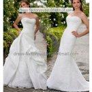 2-In-1 Dismountable White Lace Wedding Dress Mermaid Long Bridal Dress & Taffeta Train Bridal Dress