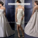 2-In-1  Sz24 6 8 10+White Wedding Dress A-line Long Bridal Gown Short Lace Bridal Dress