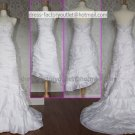 2-In-1 Demountable White Taffeta Wedding Dress Halter Long Layered Bridal Gown Short Bridal Dress