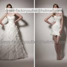 2-In-1 Dismountable White Cascading Ruffles Wedding Dress A-line Long Bridal Gown Short Bridal Dress