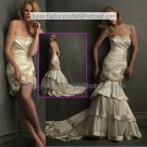 2-In-1 Sz24 6 8 10+  Ivory Satin Wedding Dress Mermaid Long Bridal Gown Short Flowers Bridal Dress