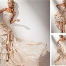 2-In-1 Champagne Taffeta Lace Wedding Dress A-line Long Bridal Gown Hi-low Bridal Dress Sz24 6 8 10+