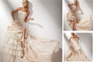 2-In-1 Champagne Taffeta Lace Wedding Dress A-line Long Bridal Gown Hi-low Bridal Dress Sz24 6 8 10+