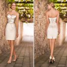 Champagne Satin Wedding Dress Short Sheath Bridal Dress Zipper Button Back Beaded Sash Prom Dress