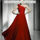 A-line Red Wedding Dress One Shoulder Chiffon Bridal Evening Gown Sz 8-22+ Custom