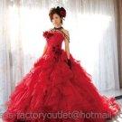 A-line Red Organza Flowers Wedding Dress Strapless Luxury Bridal Dress Gown Sz 2 4 6 8 10 12 14+