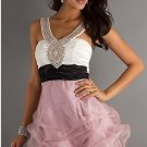 2 Straps V Neck Evening Dress Short Prom Dress White Black Sash Purple Party Dress Sz 2 4 6 8 10+