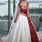 A-line Red Green White Wedding Dress Cap Sleeves Bridal Dress Gown Sz 2 4 6 8 10 12 14+Custom