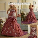 A-line Burgundy Taffeta White Lace Wedding Dress Strapless Bridal Dress Sz 0 2 4 6 8 10 12 + Custom
