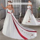 A-line Embroidery Red White Wedding Dress Strapless Bridal Dress Long Train Sz 0 2 4 6 8 10 12+