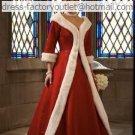 A-line Red Wool Coat White Wedding Dress Strapless Bridal Dress Long Sleeves Sz2 4 6 8 10 12+