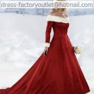 A-line Red Coat White Wool Wedding Dress Bridal Dress Full Sleeves F Winter Sz2 4 6 8 10+