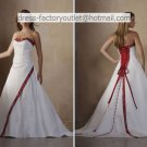 A-line Embroidery Red White Wedding Dress Strapless Bridal Dress Long Train Sz2 4 6 8 10 12+