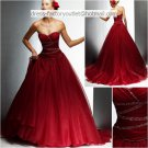 A-line Red Organza Beaded Quinceanera Dress Strapless Halloween Prom Dress Sz 2 4 6 8 10 12 14+