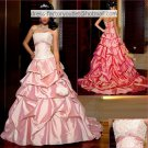 A-line Ruffled Hot Pink Taffeta Wedding Dress Strapless Bridal Dress Sz 0 2 4 6 8 10 12 +Custom