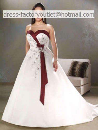 A line burgundy red white wedding dress plus size for Burgundy wedding dresses plus size