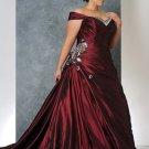A-line Burgundy Red Wedding Dress Plus Size Cap Sleeves Bridal Dress Gown Sz16 18 20 22 24+Custom