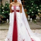 A-line Red White Wedding Dress Embroidery Strapless Bridal Dress Gown Sz4 6 8 10 12 14+Custom