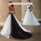 A-line Embroidery Blue White Wedding Dress Strapless Bridal Dress Gown Sz 4 6 8 10 12 14+Custom