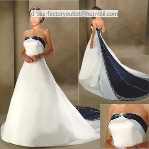 A-line Embroidery Blue White Wedding Dress Strapless Bridal Dress Ball Gown Sz 4 6 8 10 12 14+Custom