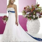A-line Blue White Wedding Dress Embroidery Strapless Bridal Dress Gown Sz4 6 8 10 12 14 16+Custom