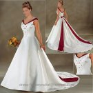 A-line Red White Wedding Dress Embroidery Cap Sleeves V-neck Bridal Gown Sz4 6 8 10 12 14 16 +Custom