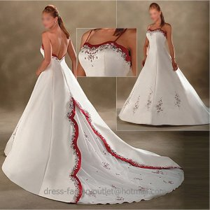 A-line Red White Wedding Dress Jeweled Thin Straps Bridal Gown Sz4 6 8 10 12 14 16 +Custom
