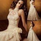 Ivory Taffeta Lace Bridal Dress A-line Choker Neck Bridal Gown Wedding Dress Sz 2 4 6 8 10 12 14++