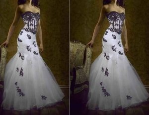 Gothic Strapless Bridal Ball Gown Black Lace White Organza Mermaid Wedding Dress Sz 2 4 6 8 10 12++