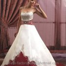 A-line Red White Wedding Dress Embroidery Spaghetti Straps Bridal Gown Sz4 6 8 10 12 14 +Custom