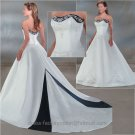 A-line Blue White Wedding Dress Embroidery Strapless Bridal Gown Sz4 6 8 10 12 14 +Custom