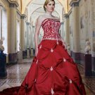 A-line Red Beaed Wedding Dress Embroidery Strapless Bridal Ball Gown Sz16 18 20 22 24 26+Custom