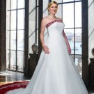 A-line Red White Wedding Dress Embroidery Strapless Bridal Gown Sz16 18 20 22 24 26 +Custom