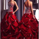 A-line Red Wedding Dress Embroidery Strapless Beaded Bridal Ball Gown Sz2 4 6 8 10 12 14+Custom