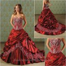 A-line Red Pleated Wedding Dress Embroidery Strapless Bridal Ball Gown Sz4 6 8 10 12 14 +Custom