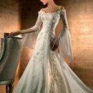 A-line White Ivory Bridal Dress Long Sleeves Chiffon Bridal Gown Wedding Dress Sz 2 4 6 8 10 12+