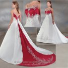 A-line Red White Wedding Dress Spaghetti Straps Bridal Gown Sz2 4 6 8 10-12 14+Custom