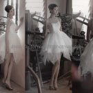 White Ivory Short Tulle Tiered Bridal Dress Jewel Round Neck Knee Length Beach Wedding Dress